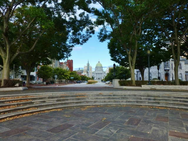 A beautiful park is located at the end of State Street, placed to enjoy views of the Susquehanna River. You can see the Capitol Building, looking beautiful at the opposite end of the street.