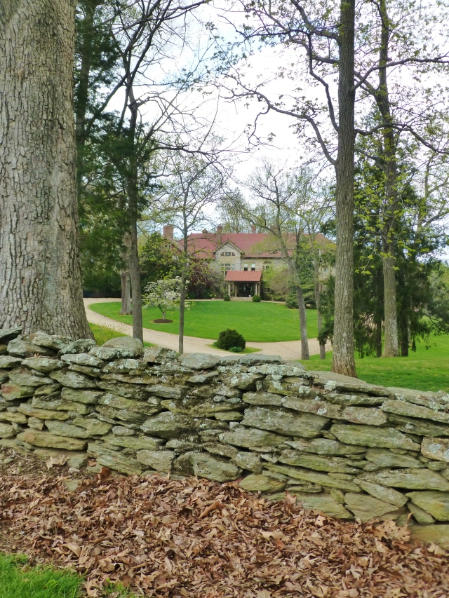 Along the drive, a stacked stone wall has amazing texture.  Elway Hall is beautifully nestled amongst the trees.