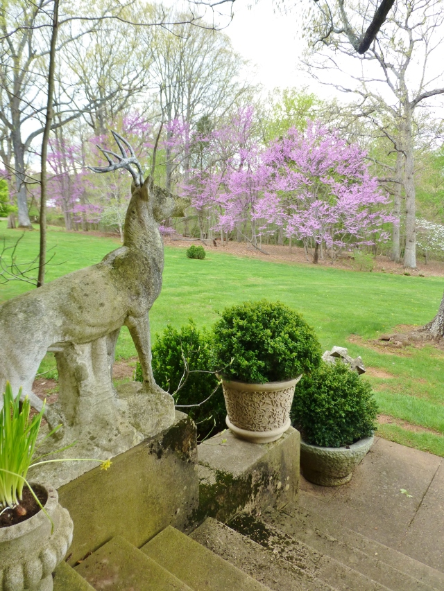 A pair of large stone stag sculptures flank the stairs and look out across the lawn.