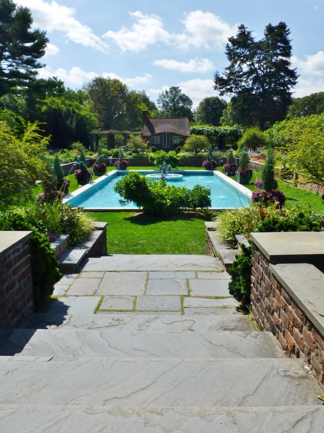 The absolutely spectacular pool at Planting Fields Arboretum.  Plantings in this garden are laid out very symmetrically, and the overall space has a very English feel to it.   Obviously we visited the Park on an equally spectacular summer day!