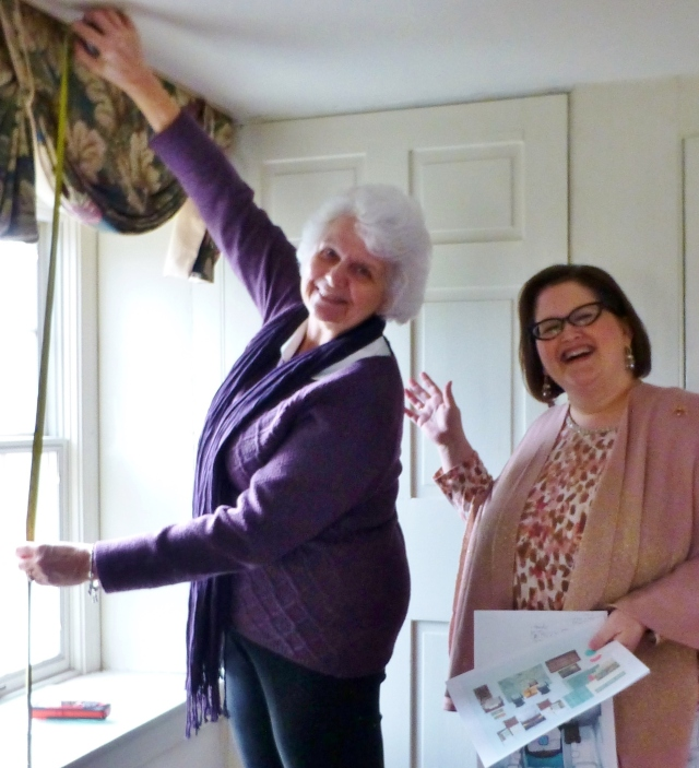My drapery fabricator, Grace Rumer, and I are measuring for the beautiful window treatments that will enhance the bedroom I'm designing at Foxwood Manor, the 2016 Bucks County Designer House & Gardens.