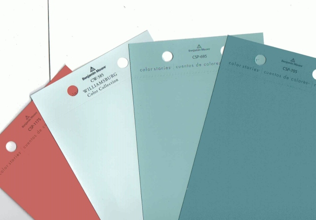 Here are several paint colors represented in the fabrics I chose for my designer house bedroom.  I plan to use these colors in various ways throughout the space. I'll often pick out color sample chips, like the coral pictured here, to keep in my folder for shopping purposes too.  This way, I can take the entire color scheme (not limited to the color for the walls) with me when I'm out shopping.  It's much easier to carry some paper paint chips around, rather than lots of fabric swatches, etc.