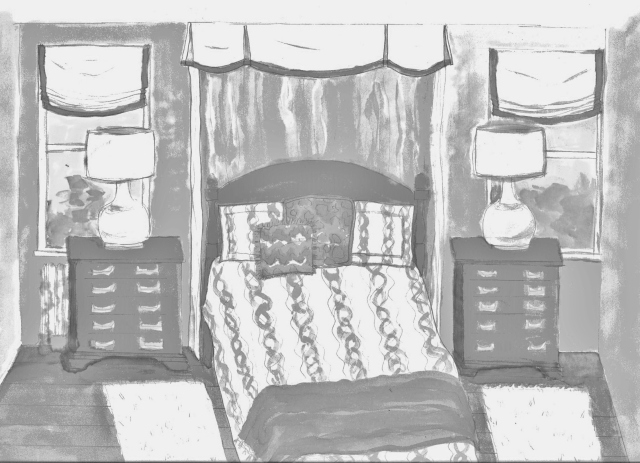 A sketch, or perspective, of the bed wall in my 2016 Bucks County Designer House bedroom. Now that I've decided on the types of treatments, the fabric choices can be made.