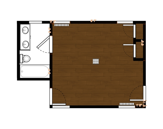 This is a scale drawing of the bedroom I'll be designing for the 2016 Bucks County Designer House & Gardens.
