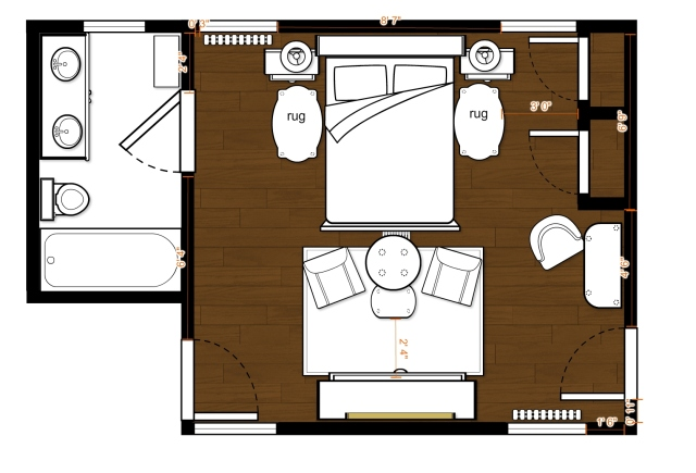 After playing around I ended up with this floor plan. You can see that I added night stands on either side of the bed, and I thought a pair of small rugs would make it nice to step out of bed in the morning. I also place a pair of chairs and small table at the foot of the bed, placed on a pretty area rug. The dresser is here too, placed between the windows opposite the bed. Finally, I put a small desk or vanity in the small L-shaped nook. It should provide a nice focal point across the room and would be very useful as well.