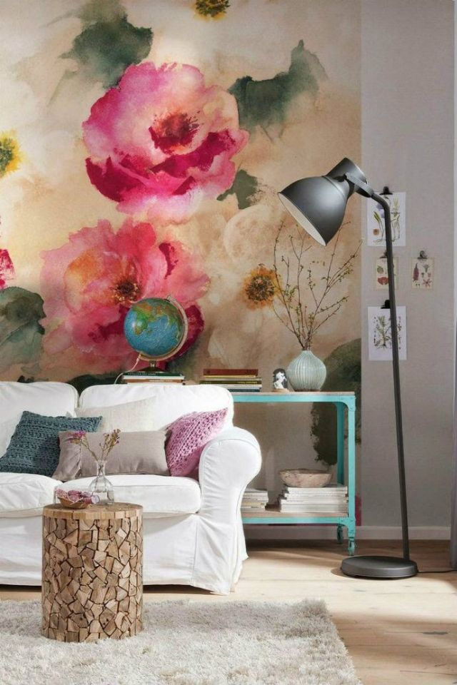 Here's another inspiration image I found on Pinterest, using an overscaled watercolor floral for a mural.