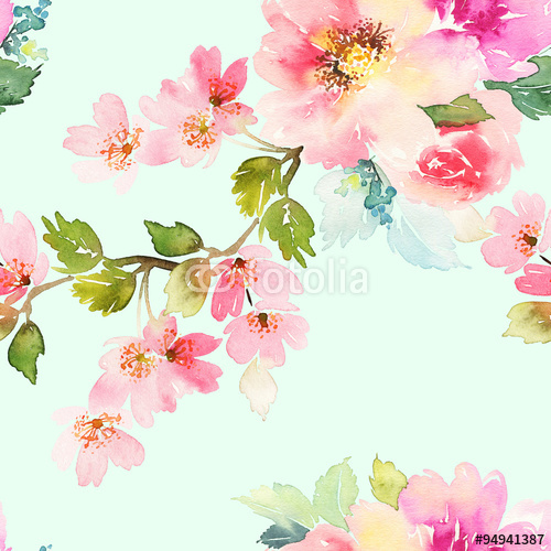 This is the watercolor floral that Shawn from Limitless Walls sent to me. I thought it would be perfect to use in my Bucks County Designer House Bedroom, but the colors were just not right. I definitely did not want the yellow-green or the fuchsia pink in my mural, and the background was a bit too green.