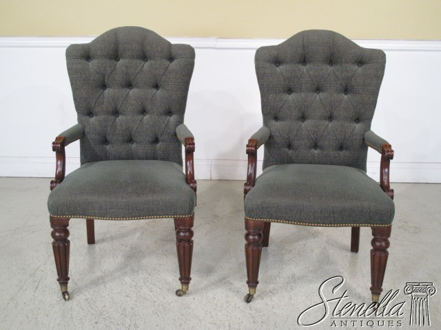 These Henredon tufted chairs from Stenella Antiques come already upholstered in a teal chenille fabric that will work perfectly in my Bucks County Designer House bedroom.