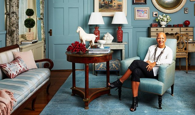 Interior designer, Sheila Bridges, is pictured here in her own lovely home. Notice how the wall behind her has all the trim painted in the exact same color as the walls. This allows the doors and moldings to blend into the background. Using one color actually makes the space appear larger and less busy. Sheila Bridges' room even has an L-shaped nook, very similar to my designer house bedroom. How cool is that?! Feel free to click through to Pinterest for more info on this amazing designer and her Harlem home.