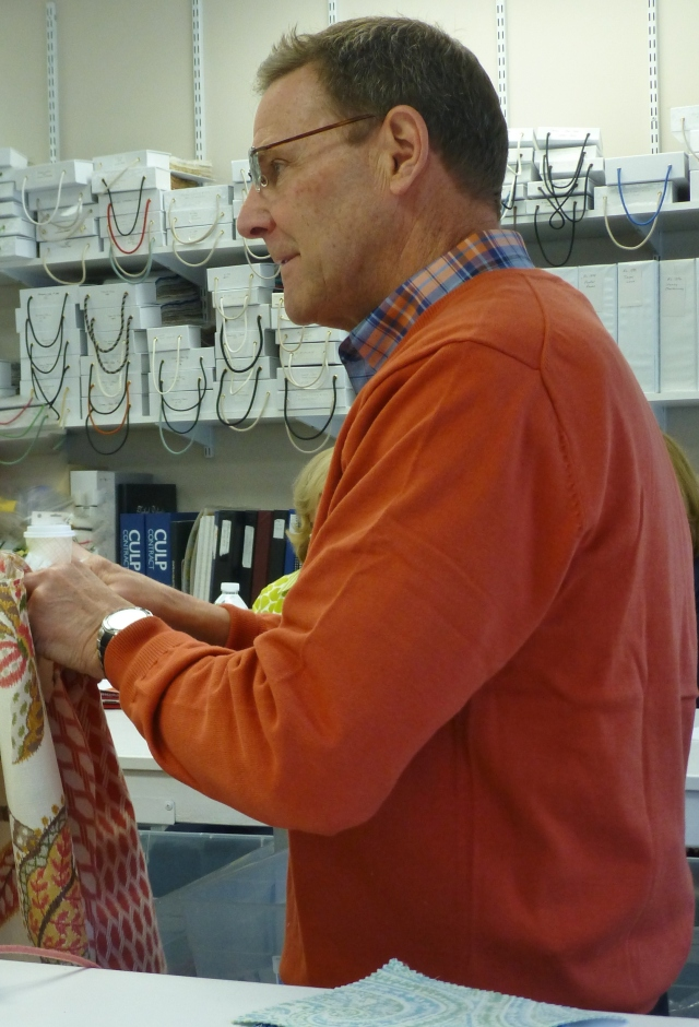 This is Mark Rickers, one of the amazing fabric designers at Stout Textiles. Mark helped me select my beautiful 2016 Bucks County Designer House Bedroom fabrics from Stout Textile's upcoming fabric line.
