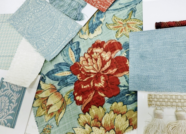 Here a small cuttings of the Stout Fabrics I'm planning to use in my 2016 Bucks County Designer House bedroom. At the center is a magnificent floral with a seafoam blue background, darker teal leaves and soft petal pink with bold coral accents. I'm only planning to use this particular fabric in small amounts, but it will be the glue that unifies the whole space. It's the inspiration for the color palette in my bedroom.