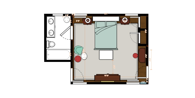 Now my Bucks County Designer House bedroom's floor plan looks like this. A large are rug, created from bound, soft gray carpeting will take up the majority of the floor space. This will create a soft, elegant surface underfoot which is very comfortable in a bedroom space. I'm happy with how it will lighten and create a neutral backdrop for all the gorgeous dark wood furniture and sumptuous fabrics, as well.