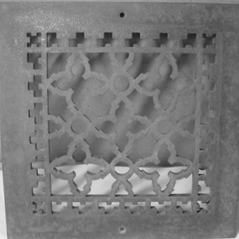 "Eventually I found this reproduction iron grate, cast from a Victorian original. It's unpainted, so that saves me the step of having to strip or sand down the paint from an older example. The grate is 10"" x 10"", which is pretty close to the existing louvered vent which was 13.5"" x 13.5"" at the widest point."