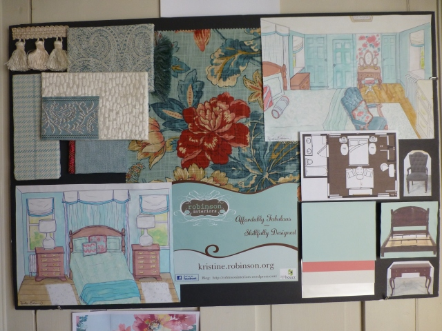 Here's a photograph of my design inspiration board for the Bucks County Designer House bedroom. As you can see fabrics and trims are displayed at the top left and center. My watercolor perspectives of the room are also displayed, along with the room's floor plan. A few of the room's major furniture items are mounted at the bottom right, along with the final paint color chips.