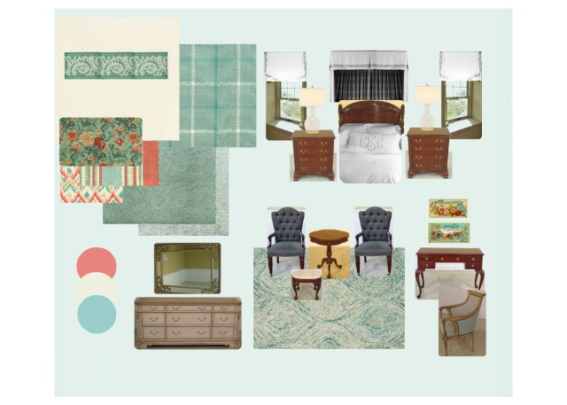 This is an early example of a virtual design board I created for my 2016 Bucks County Designer House bedroom. As you can see, the idea is similar, in that many of the room' s elements are seen in one place. It's very helpful to have an inspiration board like this for visualizing a room's design!