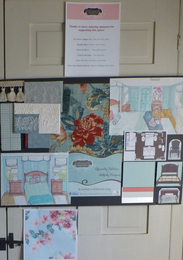 The design Board was on display at the Empty House Party, back in March. Visitors to the house could stop into each room and see each designer's plan for his or her room. I also included a list of my room's sponsors and a small mock-up of the mural I'm planning to install in the alcove.
