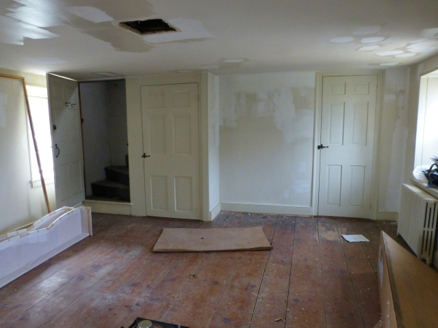 As you can see in this photo, the floors are not only filthy, at times the space has become a dumping ground due to the attic storage access.