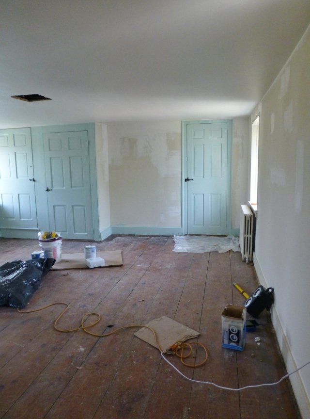 Prep work has begun on my 2016 Bucks County Designer House bedroom. As you can see the doors and walls will be painted in this lovely Seafoam blue. The alcove in the center of this image is the wall which will become the focal point. A custom mural might be just the thing!