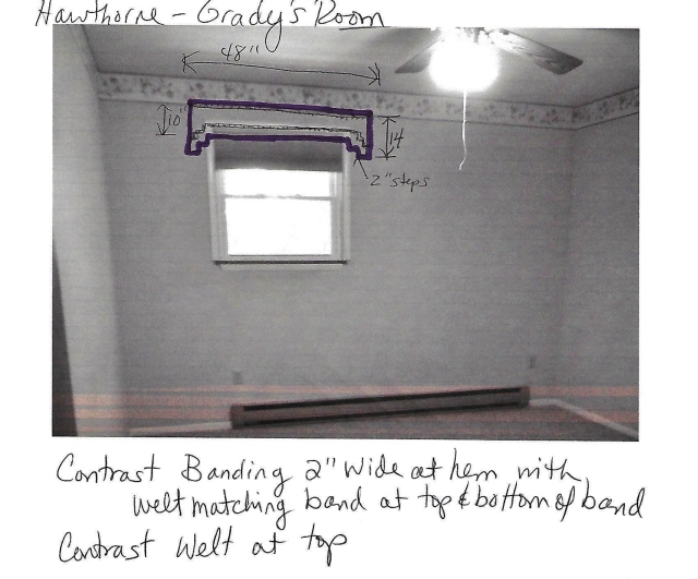 Window Specs for cornice board in a Teen Boy's Bedroom at The Shack