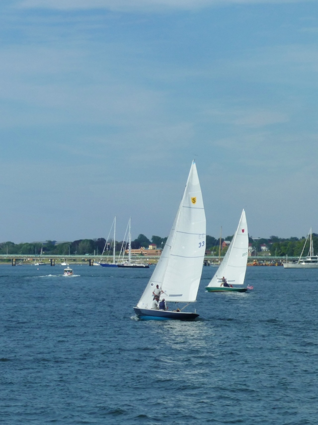 Small Sailboats in Newport, Rhode Island Harbor