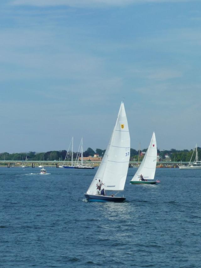 Small Sailboats in Newport, Rhode Island Harbor