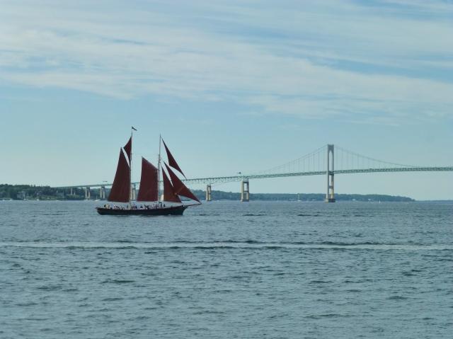 Sailboat with Newport Rhode Island Bridge Beyond