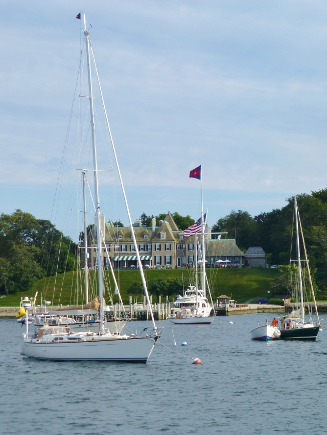 Newport mansion with boats in the harbor